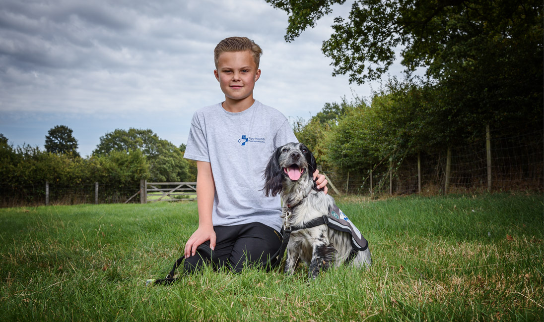 Hypo Hounds child with Hypo Hound Diabetic Assistance Dog